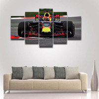 Wholesale Large Canvases Artwork For Walls - 5 Panel Printed Formula Race Car Picture Large Canvas Art for Wall Decor Home Decoration Living Room Artwork Poster