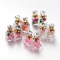 Wholesale Glass Perfume Bottle Flower - Crystal dry flower Double side glass stud earrings eardrop women perfume bottle ear stud piercin earing jewelry Christmas gift 170523