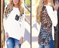 Wholesale Long Blouse Neck Designs - 2016 New Spring Loose Plus Size Leopard Chiffon Blouse for Women Lady Long Sleeve Blouse Casual Tops Pocket Design J6123