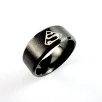 Wholesale Superman Man Steel - 10Pcs Finger Superman Rings For Men Vintage Anillo Bague Bijoux Man Ring Lots Fashion Jewelry LR425