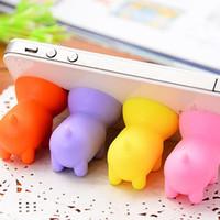 halter silikon tablette großhandel-Mini Schwein Handyhalter Handy Halter Silikon Saugnapf Für Handy Tablet PC 100 teile / los Mischen Farben und Nach Dem Zufall