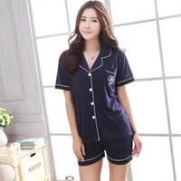 Wholesale Plus Size Satin Pajamas - plus size 100% Cotton summer casual pajamas for women, homewear, Sleepwear, Pajama Sets VD