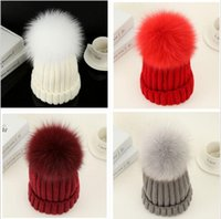 Beanies Simples Pas Cher-Quality Removable Real Mink Fox Fur Pom Poms Ball Bonnets acryliques Winter Warm Plain Hats Adultes Enfants Enfants Slouchy 50 pcs YYA529