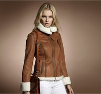 Wholesale Short Leather Jacket Woman Fashion - new fashion 2016 winter women's compound berber fleece fur luxury motorcycle jacket suede fabric outerwear coats for women