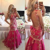 Wholesale fushia gowns for sale - Group buy Gorgeous Fushia Sheer Back Prom Dresses Summer Lace Applique Mermaid Sleeveless Evenin Gowns With Bow v Neck Arabic Formal Wear