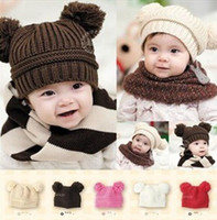 Wholesale Double Ball Knitted Cap - Kids Fashion Baby Winter Fall Warm Beanies Hat Wool Baby Toddler Knitted Double Ball Turtleneck Knitted Children Hats Crochet Mouse Cap Xmas