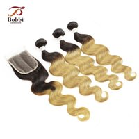 Wholesale Ombre Hair Extensions Blonde - Malaysian Ombre Human Hair T1b 27 Dark Root Honey Blonde Extensions Body Wave 3 Bundles with Lace Closure Free Part