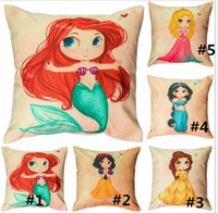 Wholesale Princess Pillow Cases - Linen Cushion Covers For Couches 45*45cm Mermaid Pillow Case Cute Cartoon Princess Girls Pattern Style Throw Pillow Cushion Cover New