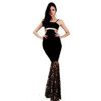Wholesale Maxi For Xxl Women - S-XXL High Quality Sexy Sleeveless Maxi Dress Spaghetti Strap Cut Out Hollow Out Design Lace Mermaid Dress for Women WB009014