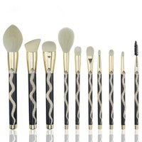 Wholesale Professional Makeup Artist Brush Kits - Coshine 10pcs 3D Unique Gold Snake Totem Series PS Handle ABS Snake Totem Fake Goat Hair Makeup Brushes Set Professional Makeup Artist Tools