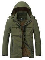 Wholesale Army Hood Jacket - Autumn Coats Windproof Detachable Hood Parka Casual Jacket Men Bomber Jacket Men Army Green Zipper Coat Clothing