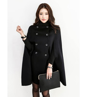 Wholesale Military Jackets For Women - Black Double Breasted Cape Coat Women Military Wool Winter jacket Cloak for Women
