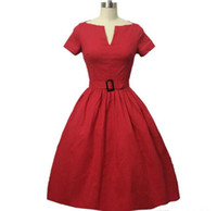 Wholesale Dress Woman Polka - Women Sexy Formal Evening Style Party Dress Elegant V-neck Collar Belted Vintage Polka Dot 50s Retro Rockabilly Casual Dresses FS0011