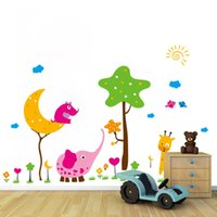 Wholesale Kids Room Grass Decals - Cartoon Animals Tree Cloud Birds Grass Land Wall Stickers for Kids Boys Room Nursery DIY Home Decor Wall Applique Star Moon Wall Mural