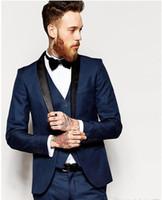 Wholesale Notch Collar Slim Fit Suits - Side Vent Slim Fit Groom Tuxedos Shawl Collar Men's Suit Navy Blue Groomsman Bridegroom Wedding Prom Suits (Jacket+Pants+Tie+vest)