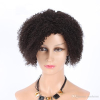 Wholesale Human Hair Afro Curly Wigs - Human Hair Wigs New Style Afro Curly Indian Human Hair Lace Wigs For Black Women Full Bottom Wigs Free Shipping