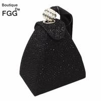 Wholesale Diamonds Hot Fix - Wholesale-Women Wedding Party Fashion Mini Black Gliter Pyramid Wristlets Handbag Clutches Hot-Fixed Crystal Diamond Evening Clutch Bags