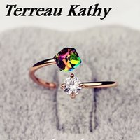 Atacado- Terreau Kathy 2016 New Fashion Jewelry Design de luxo Rose Gold Color Bow Zircon Rings For Women