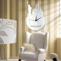 Wholesale Liberty Homes - Lady Liberty DIY Clock Hot Mirror Sticker 3D Acrylic Wall Stickers Home Decor Europe Large Poster Kitchen House Statues Christmas Wall Cloc