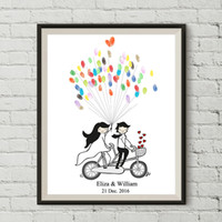 Wholesale Wedding Canvas Guestbook - Personality DIY Custom Bicycle Lovers No Frame Canvas Fingerprint Signature Wedding Guestbook Bedroom Decoration Sweet Souvenirs