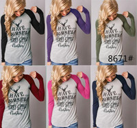 Wholesale Plus Size Christmas Shirts - Women T Shirt Christmas Deer T-Shirt Women Christma Elk Long Sleeve 6 Styles Letters Shirts Xmas Tops Casual Blouse Santa Claus plus size