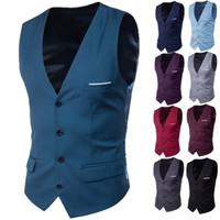 Wholesale Slim Fit Work Suit - Fashion 2017 New Men Suit Vest Classic V Collar Dress Slim Fit Wedding Waistcoat Formal Slim Dress Vests Men Work Waistcoat Vest