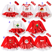 Wholesale Autumn Rompers - Baby girls INS Christmas Rompers lace dress children Long sleeve romper +Bows headbands 2pcs sets baby Xmas pattern Santa Claus clothes B001