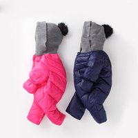 Wholesale Organic Child Hat - Fashion Infant Children Winter Cotton Down Romper Solid Color Full Sleeve Outerwear Hooded Knitted hat kids Baby Down Jacket DC001