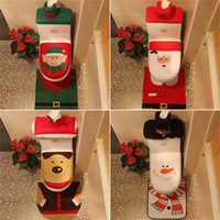 banheiros antigos venda por atacado-venda quente, tampa de vaso sanitário de Natal, velho, branco, verde, novo azul, boneco de neve, veado, fada, três peças / duas peças, boneco de neve azul, além de sapatilha