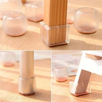 Wholesale Transparent Furniture - 4PCS Set Transparent Silicone Chair Leg Caps Covers Feet Pads For Furniture Table Wood Floor Protectors Round or Rectangular Type