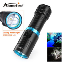 Wholesale cree scuba diving - Alonefire DV30 Portable 2000LM CREE XM-L2 LED Waterproof Torch Flashlight Light Scuba 100m Underwater Diving Flashlights
