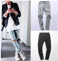 jeans grande furo joelho venda por atacado-Roupas calças de grife Angustiado Skinny Jeans Rasgados Mens Big Hole No Joelho Swag Streetwear Roupas Destruir Calças Jeans