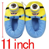 Wholesale Plush Slipper Minions - Wholesale-Anime Minion Despicable Me Cotton Slippers 3D Eyes Kevin Home Soft Plush Warm Winter Slippers Cosplay Indoor Shoes Stuffed Toys
