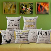 Texto Inglés Baratos-Letras simples Funda de Almohada Moda Inglés Texto Sofá Throw Pillow Case Cojín de Lino Square Pillow Cover Home Supplies 6 tipos YFA141