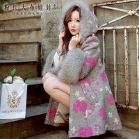 Wholesale Pink Doll Women Coat - Wholesale-dabuwawa gray printed elegant fur hooded wool coat 2016 autumn and winter pink doll