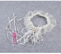 Wholesale Wholesale Wedding Garters Bow - wedding garter White Lace Wedding Garter Leg Bridal Garter Garter blue wedding garter Ivory Lace Set Blue Bowknot Wedding Bridal Gift Elasti