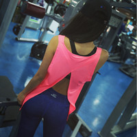 Wholesale Loose Solid Tanks For Women - Wholesale-5 Colors Summer Sexy Women Tank Tops Dry Quick Loose Gym Fitness Sport Sleeveless Vest Singlet for Running Training