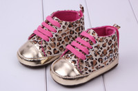 Wholesale Wholesale Leopard Crib Shoes - Cute Baby Girl Shoes Soft Gold Sole Crib Striped Shoes Baby Infant Toddler Leopard First Walker