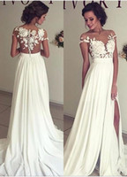 Wholesale Sexy Lace Line - 2017 Summer Bohemian Chiffon Wedding Dresses Cheap Sheer Crew Neck Lace Appliques High Spplit Hollow Back Boho Beach Long Bridal Gowns