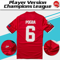 Wholesale Champions League Shirt - Champions League Player Version home red Soccer Jersey 17 18 #6 POGBA Soccer Shirt Customized #11 MARTIAL #7 ALEXIS football uniform Sales