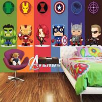 karikatur tapeten für schlafzimmer großhandel-3D Avengers Tapete Hulk Abzeichen Wandbild Fototapete Cartoon Innendekoration Junge Kinder Schlafzimmer Wohnzimmer selbstklebende tapete