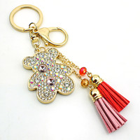 JINGLANG Fashion Keychain Bouclier en homard plaqué or Dangle Link Chains Rhinestone Bear Tassel Porte-clés Bijoux de luxe