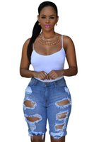 Wholesale Shorts Destroy - 2016 Summer Sexy White Black Denim Destroyed Bermuda Shorts Women Vintage Ripped Hole Plus Size High Waisted Jeans Short Feminino 78649