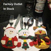 Wholesale Happy Knife - Handmade Cutlery Pocket Christmas Knife and Fork Bags Happy Cute Santa Claus Snowman Elk In Store