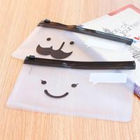Wholesale Mustache Pencils - Wholesale-Smile Face Mustache Slider Zip Folder PVC File Clear Pencil Pen Bags Pencils Case for Exam Wholesale 1 Pc