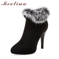 Hot venda Sexy Women Boots Inverno High Heels Ankle Boots Sapatos Mulheres Cair Ladies Short Boots Snow Fur Zip Branco Vermelho Grande Tamanho 11 45