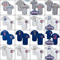 Wholesale Quick Drying - 2017 Men's Chicago Cubs Jersey 17 Kris Bryant 44 Anthony Rizzo 9 Javier Baez 12 Kyle Schwarber World Series Champions Gold Baseball Jerseys