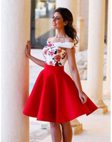 Wholesale Print Homecoming Dresses - 2016 Off Shoulder Floral Print Homecoming Dresses Sexy Knee Length A Line Party Gowns Custom Made Cocktail Dresses Graduation Gowns Vestidos