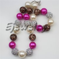 Wholesale Leopard Prints Kids Fashion - fashion jewelry leopard print beads jewelry hotpink white pearl beads chunky girl bubblegum kids Necklace&bracelet set for party gifts CB733