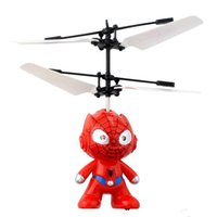 Wholesale Flying Toys Men - Small Mini RC Spider Man Aircraft Flying Induction Helicopter Charging Kid Toys Gift free shipping 50pcs